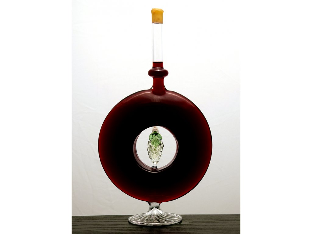 Ozdobná fľaša diskos s hroznom - červené víno