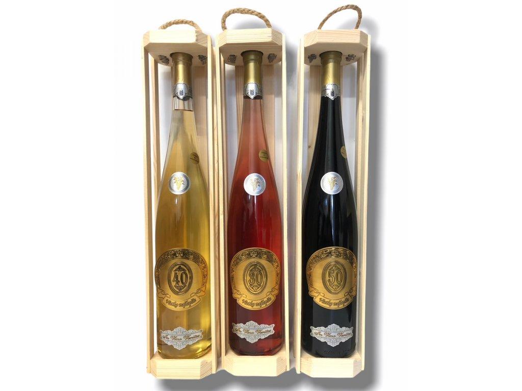 Darčekové víno rýnska fľaša Všetko najlepšie 1,5 l /zlatá etiketa/