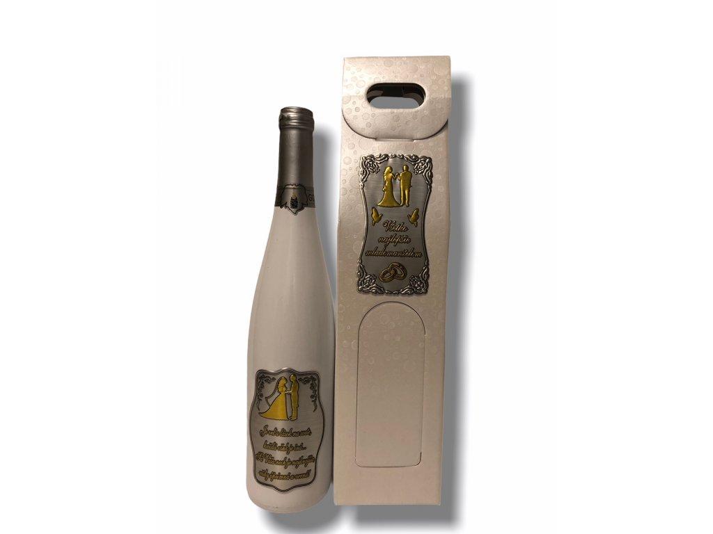 Darčekové víno biele, fľaša rýnska bielej farby