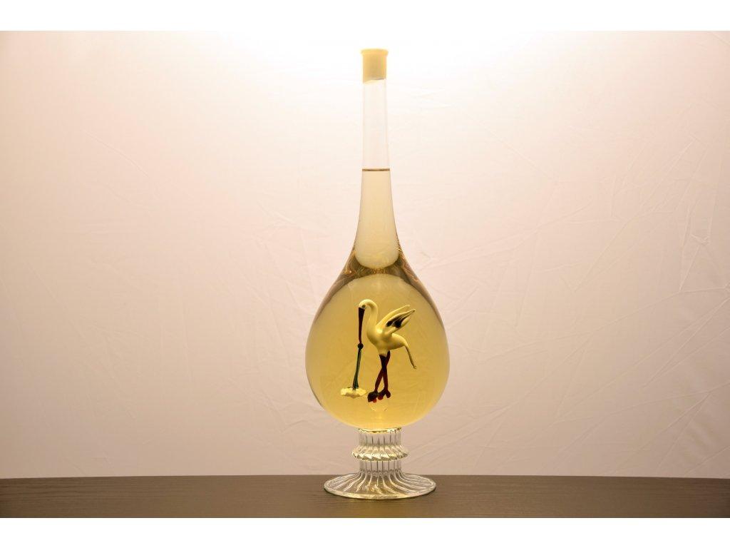 Ozdobná fľaša kvapka, sfigúrkou bociana