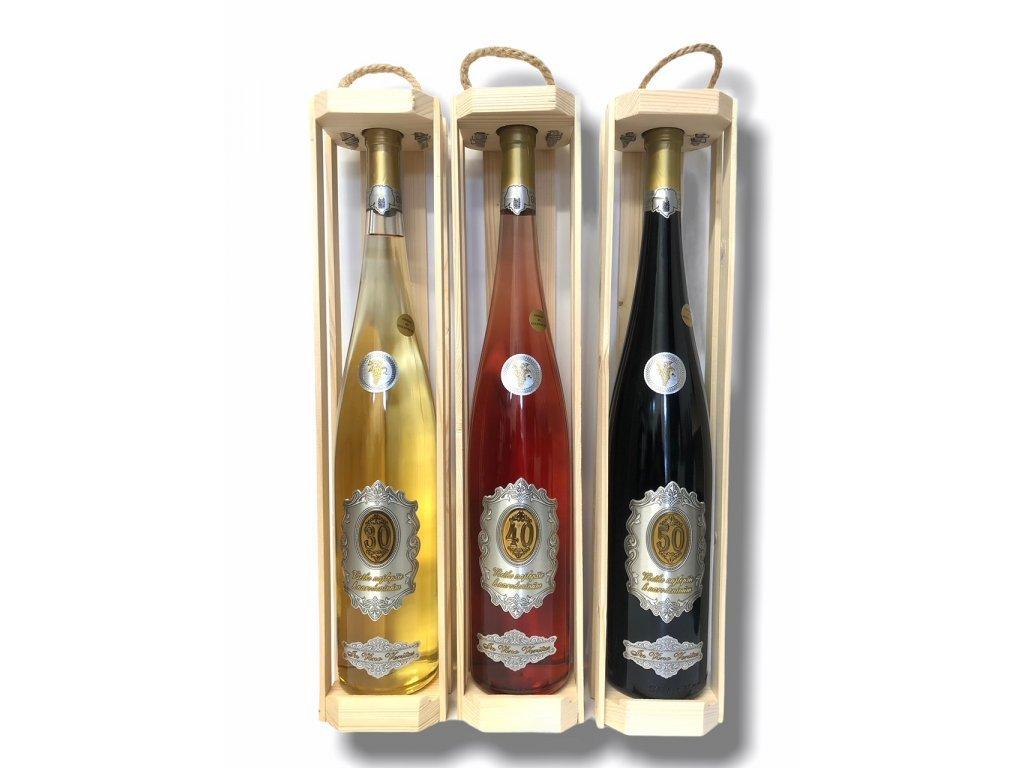 Darčekové víno rýnska fľaša Všetko najlepšie k narodeninám 1,5 l
