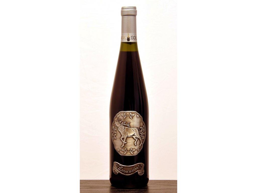 Rýnska fľaša skovovou etiketou, Jeleň - biele víno