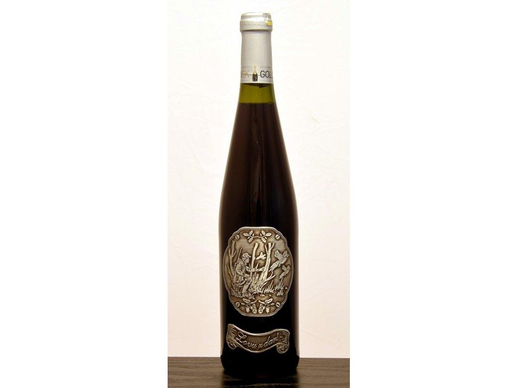 Rýnska fľaša skovovou etiketou poľovníka sbažantom - červené víno