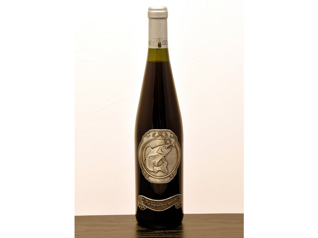 Rýnska fľaša skovovou etiketou Pre najlepšieho rybára (RYB1) - biele víno