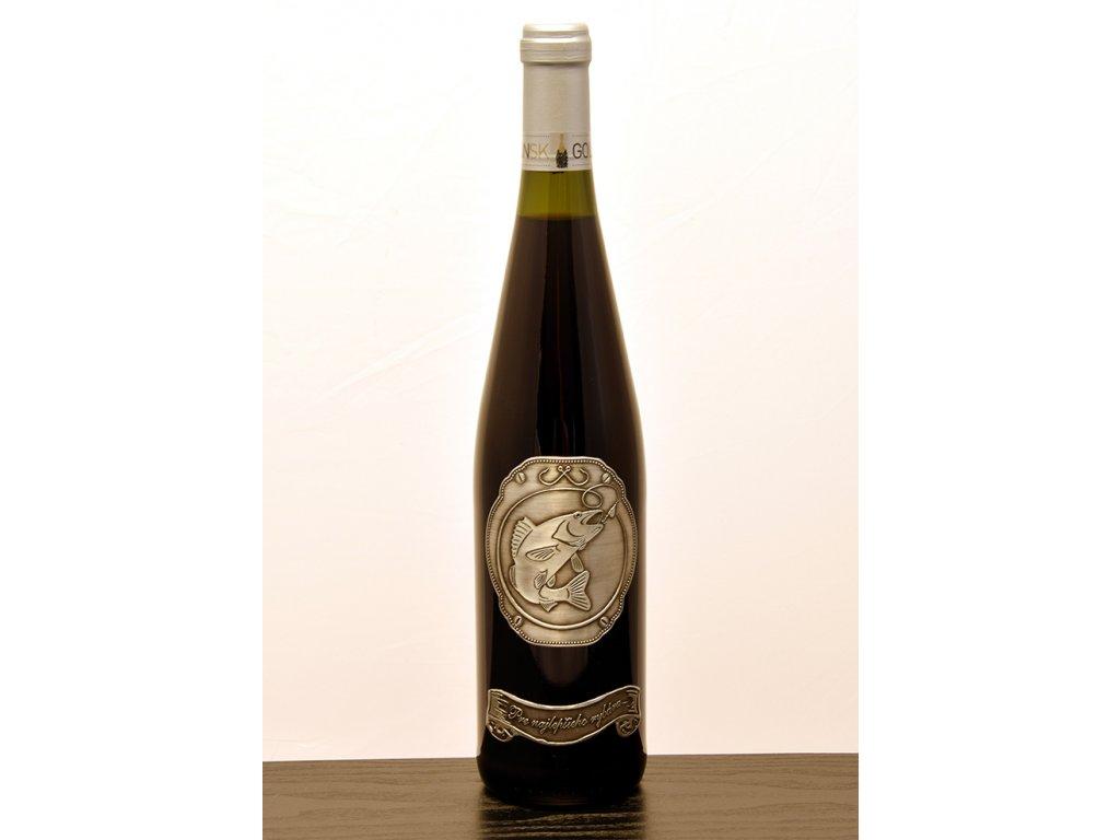 Rýnska fľaša skovovou etiketou Pre najlepšieho rybára (RYB1)