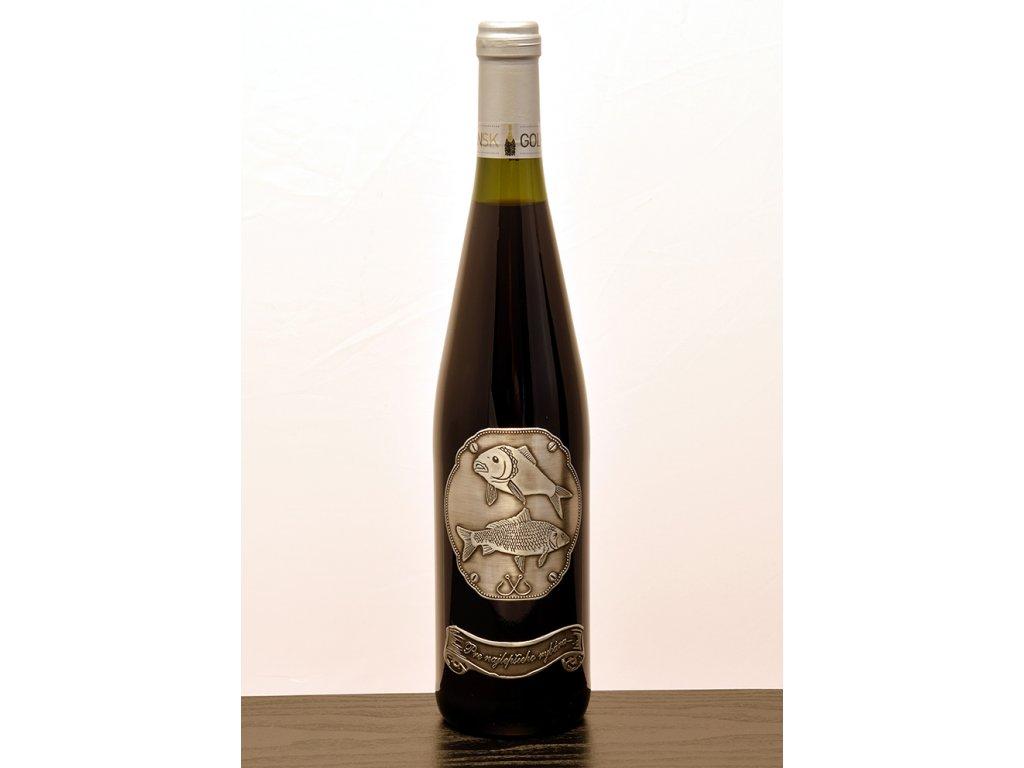 Rýnska fľaša skovovou etiketou Pre najlepšieho rybára (RYB2) - biele víno