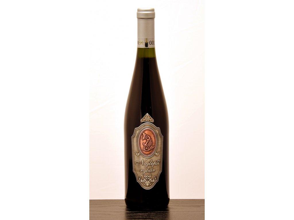 Rýnska fľaša skovovou etiketou Najlepší rybár - červené víno
