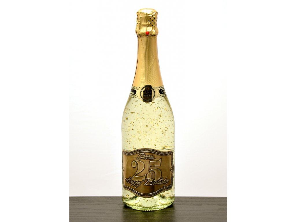 """Šumivé víno so zlatými lupienkami """"25"""""""