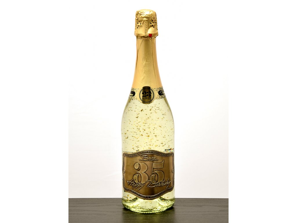 """Šumivé víno so zlatými lupienkami """"35"""""""