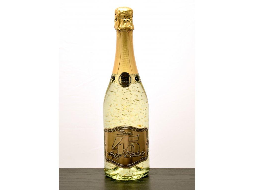 """Šumivé víno so zlatými lupienkami """"45"""""""