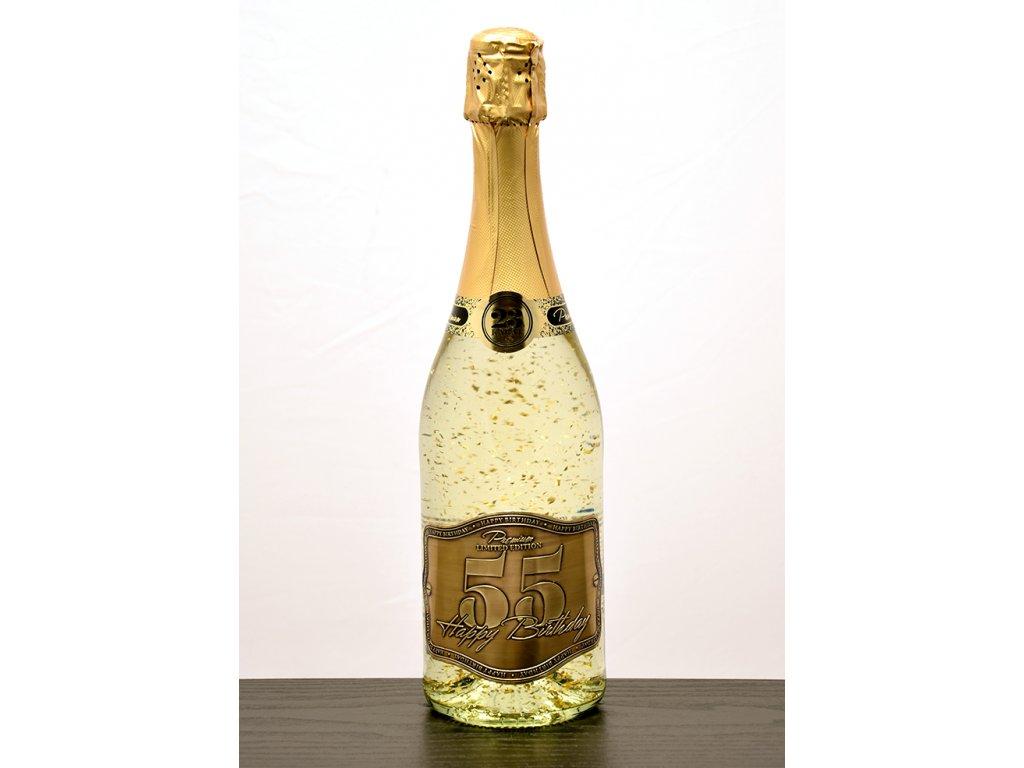 """Šumivé víno so zlatými lupienkami """"55"""""""