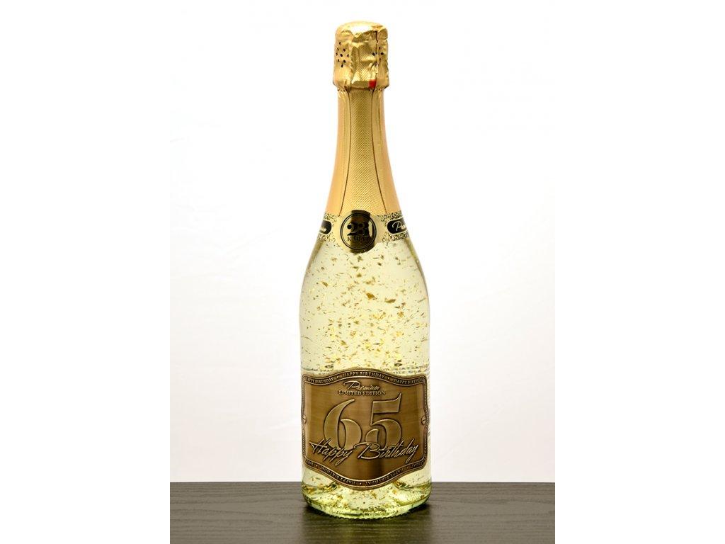 """Šumivé víno so zlatými lupienkami """"65"""""""