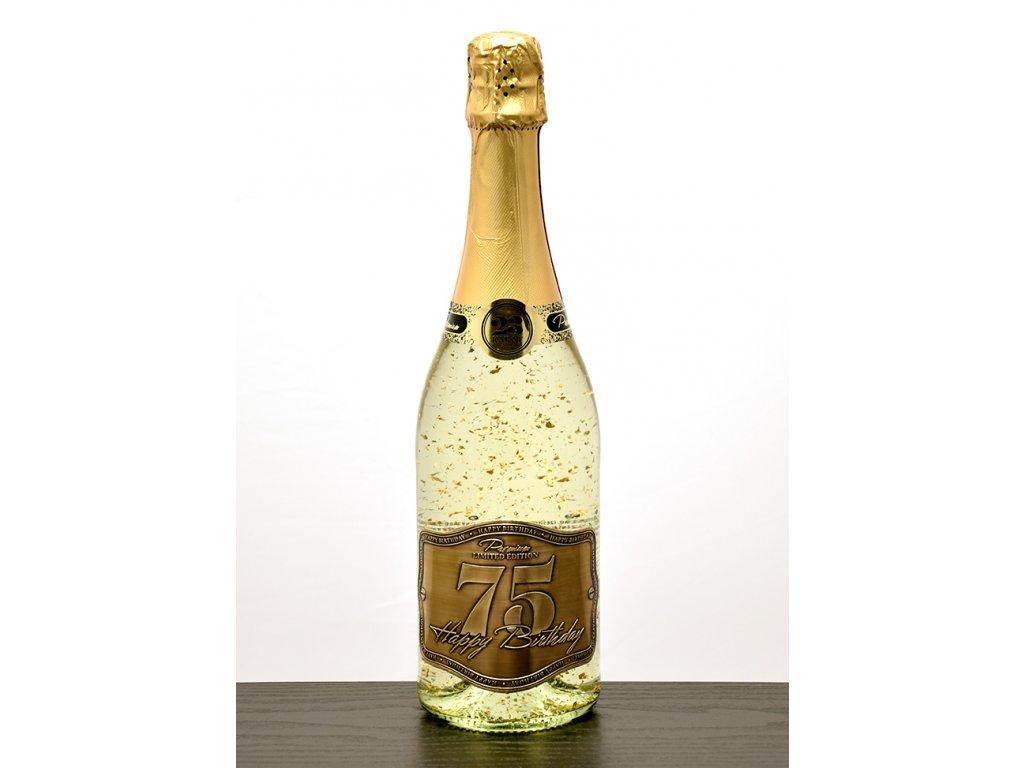 """Šumivé víno so zlatými lupienkami """"75"""""""