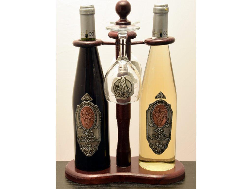 Rýnska fľaša 2x s cínovou etiketou Všetko najlepšie k narodeninám