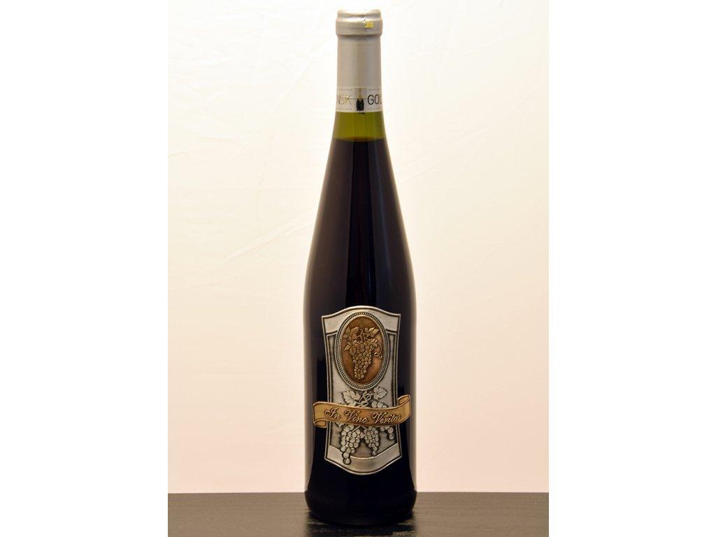 Rýnska fľaša s cínovou etiketou In Vino Veritas - biele víno