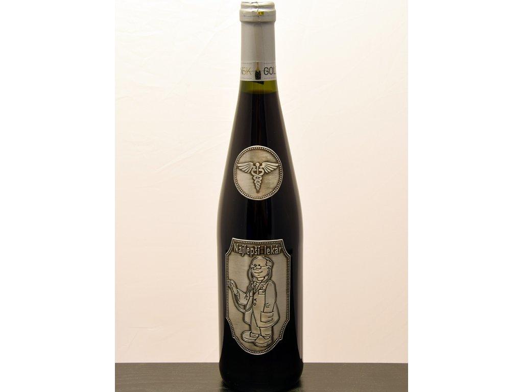 Rýnska fľaša s cínovou etiketou Najlepší lekár - biele víno