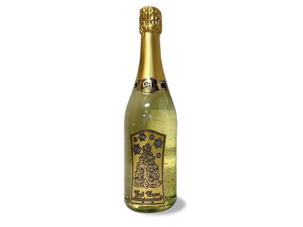 Šumivé víno so zlatými lupienkami HAPPY NEW YEAR