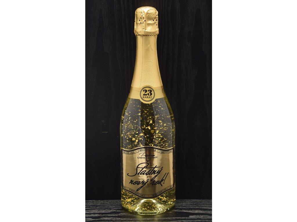 Šumivé víno so zlatými lupienkami Šťastný nový rok!