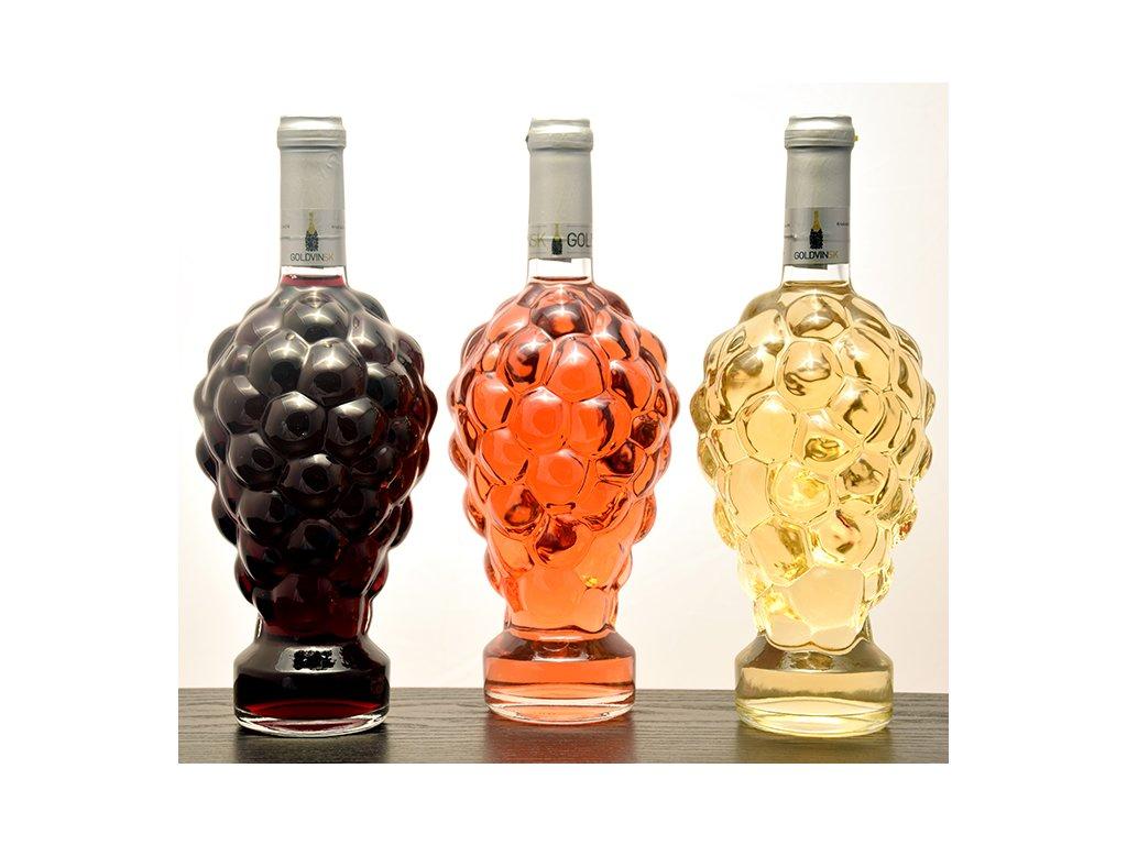 Fľaša vtvare hroznového strapca - červené víno