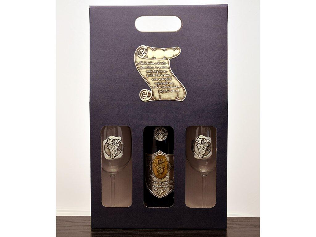 Darčekový set 1/2 skovovou etiketou Pergamen - biele víno