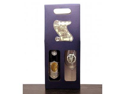 Darčekový set 1/1 skovovou etiketou Pergamen - červené víno