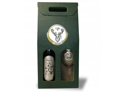 Darčekový set Exclusive 1/1 pre poľovníkov jeleň - červené víno