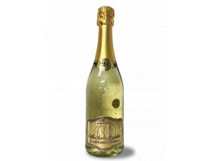 Všetko najlepšie k narodeninám 60 - Šumivé víno so zlatými lupienkami