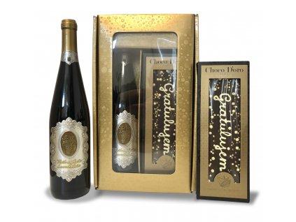 ČOKO/VÍNO zlatý darčekový set - biele víno