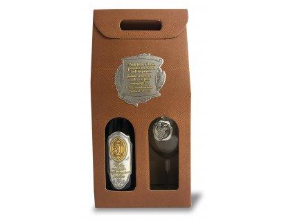 Darčekový set 1/1 CAPUCCINO, kovová etiketa Pergamen K narodeninám