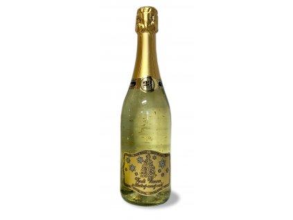 Šumivé víno so zlatými lupienkami Merry Christmas