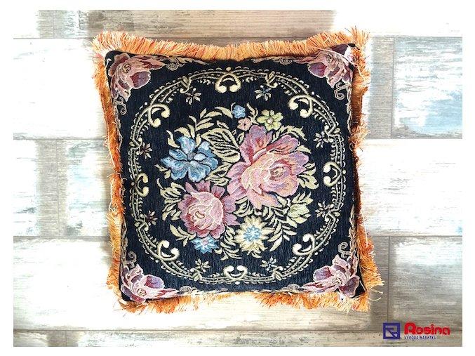 Vankúš tmavomodrý + farebné kvety so strapcami 45x45cm, 10,00€