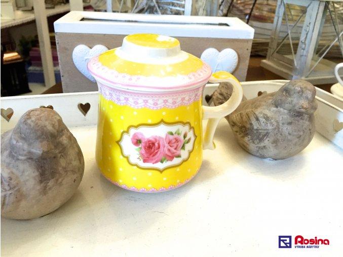 Čajový hrnček so sitkom Rose žltý 11x12x9cm, 15,90€, 98577ART