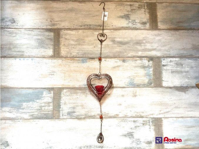 Záves medené Srdce + červená sviečka 90cm, 13,90€, 5166200TRE