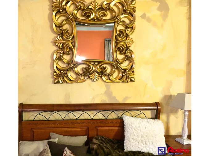 Zlaté masívne zrkadlo 98,5x98,5cm, 260,00€