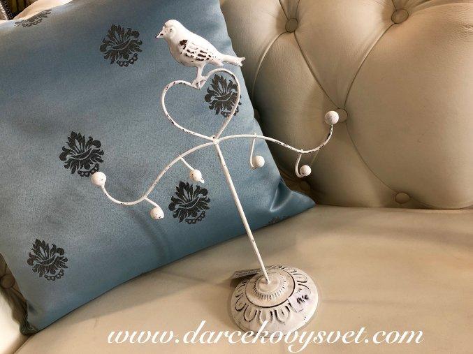 Stojan : Vešiak na šperky biely Provence Vtáčik 24cm, 14,00€, 6Y1416SKW TRE