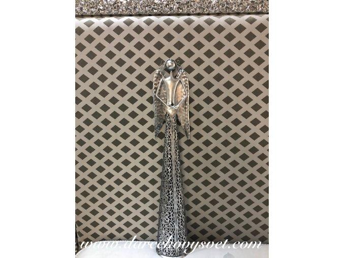 Soška Kovový Anjel strieborný so srdcom dole ruky 56cm, 26,00€, 0011350HAR