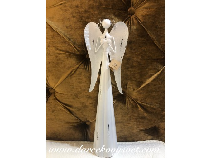 Soška Kovový Anjel biely so srdcom hore ruky 53cm, 26,00€, 015BNM0014HAR