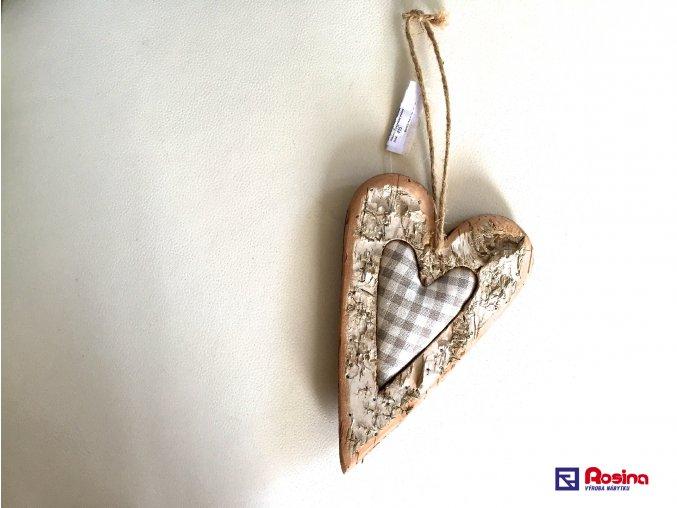 Dekoračné Drevené Srdce + šed.látka malé 19,5cm,6,40€, 001ART12019HAR