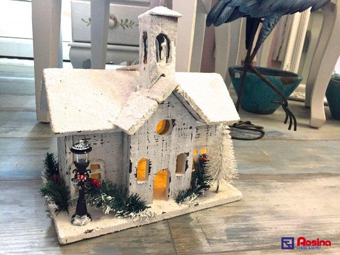 Domček drevenný svietiaci biely 30x16x30cm, 46,90€, 88139ART