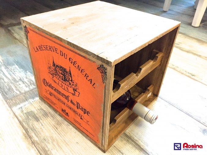 Drevená krabica na vína LA RESERVE DU GÉNÉRAL 27x27x26cm, 52,90€, 90251ART