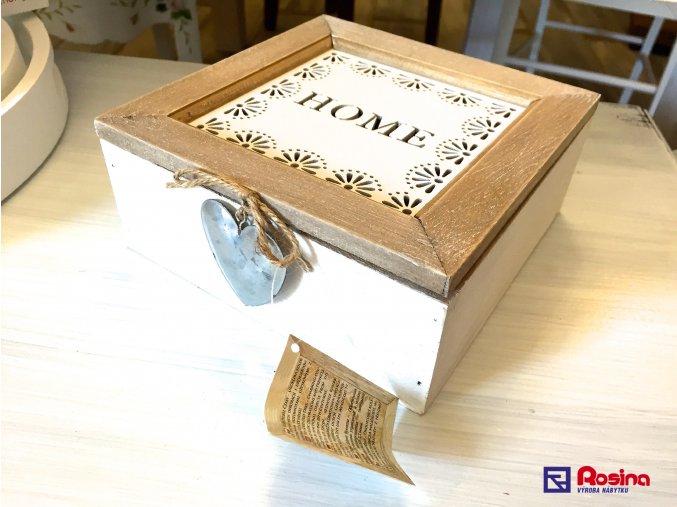 Drevená krabička Home 16x16cm, 15,70€, 86672ART
