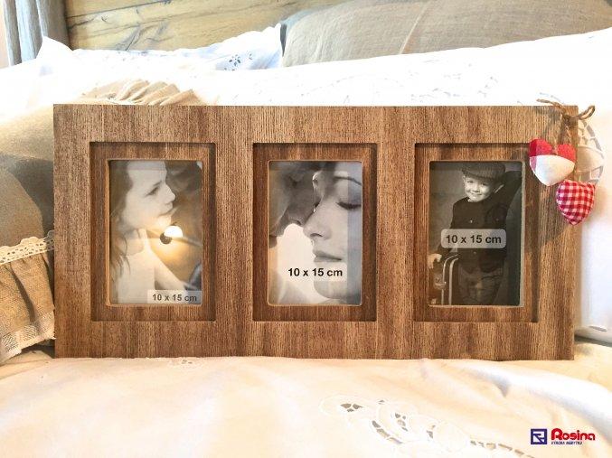 Fotorámik Hnedý drevený s čer.srdiečkami, 49x24cm, 3 x 10x15 cm, 2950900TRE