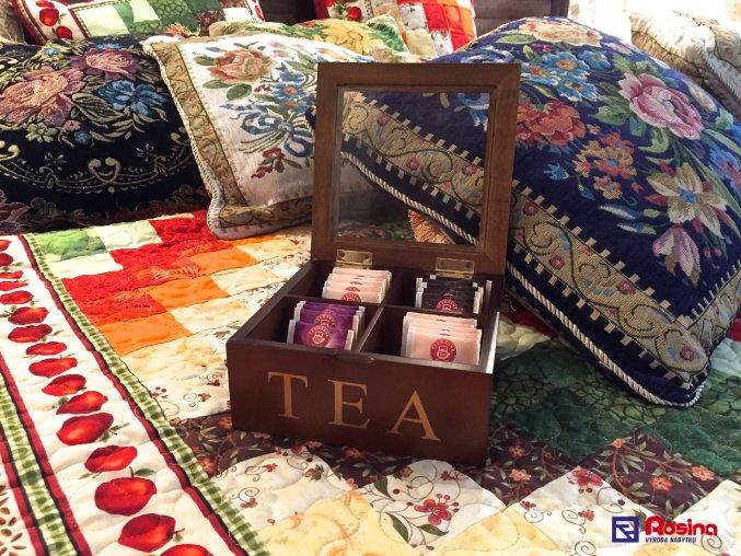 Krabička na čaj hnedá TEA 18x18cm, 4 priehradky, 14,90€, 68260ART, JPG.