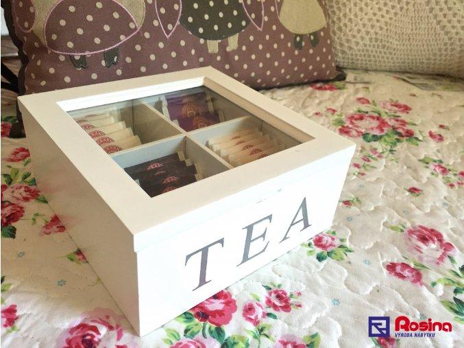 Krabička na čaj TEA biela 18x18cm, 16,90€, 93361ART