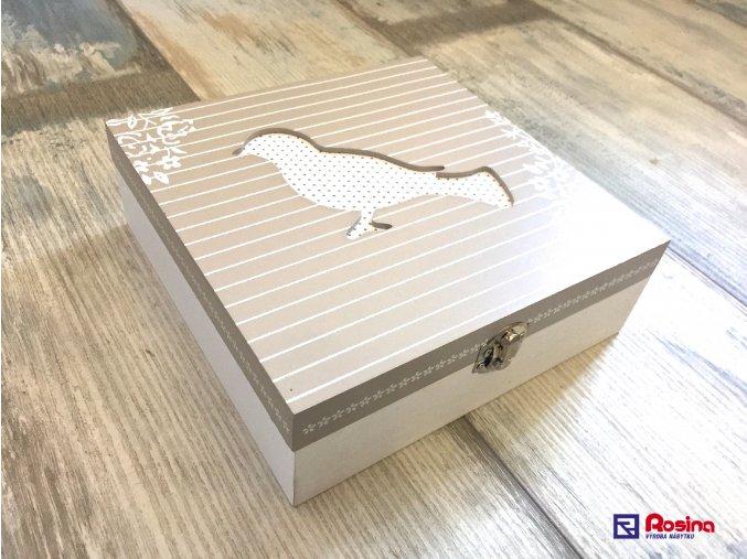 Krabička Vtáčik šedo biela 20x20x7,5cm, 22,00€, 86370 ART