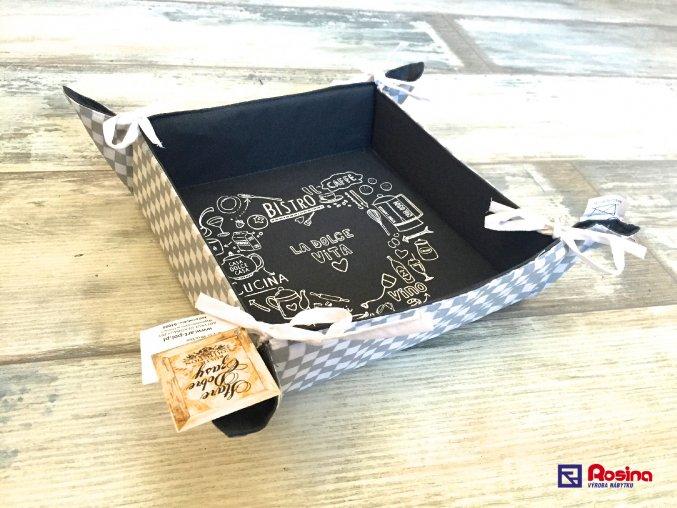 Látková ošatka na chlieb La Dolce Vita 23x23x7,5cm, 15,40€, 94096ART