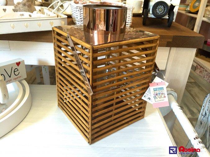 Moderný drevený Lampáš hranatý 30cm, 48,70€, 93366ART