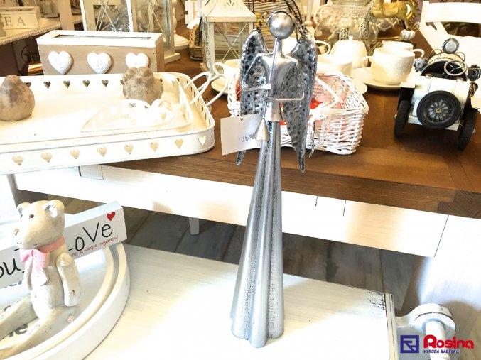 Anjel strieborný s píšťalou stredný 39cm, 24,80€, 0011338HAR