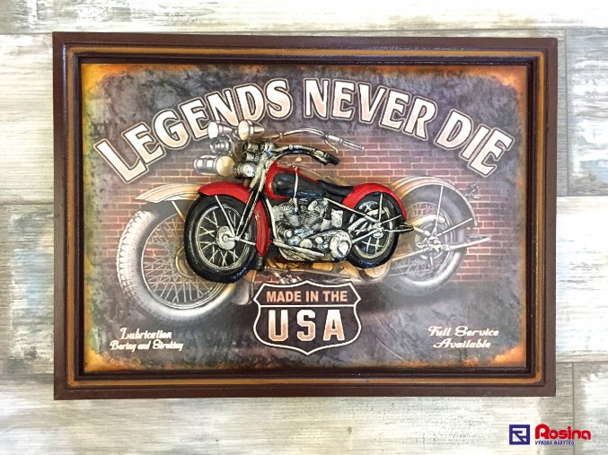 Obraz Motorka Legends Never Die 54x39cm, 96,00€, 69343ART