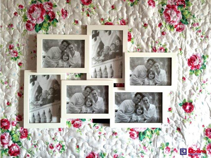 Rodinný fotorámik biely stredný 44,5x31cm, 10x15cm 2x, 13x9cm 3x,15x10cm 1x, 26,00€, 93358ART